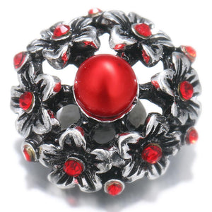 20mm Hollow Red Flower Sandy Snap Button.