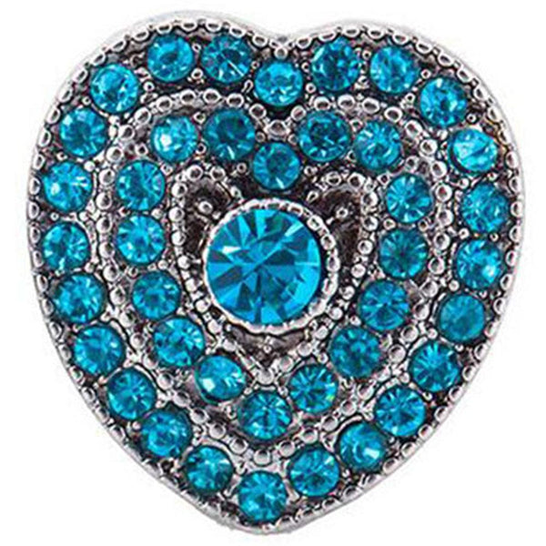 20mm Blue Crystal Heart Love Sandy Snap Button