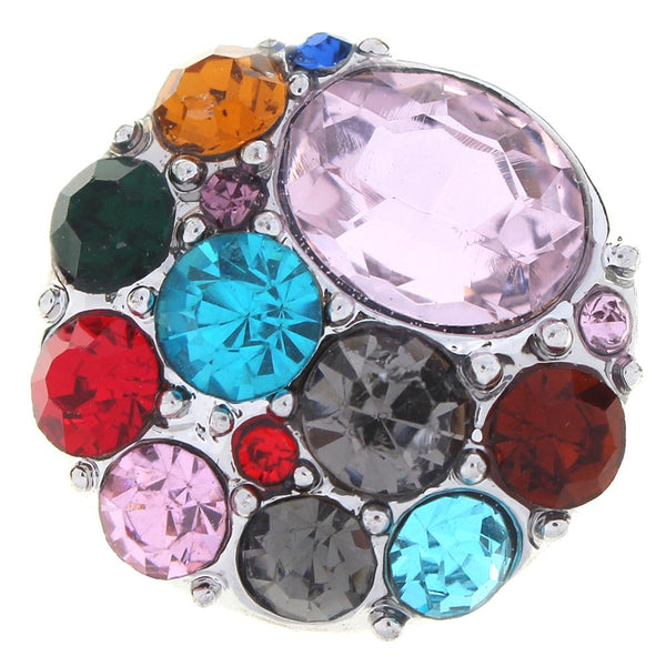 20mm Colorful Crystal Sandy Snap Button With Birthstone Colors