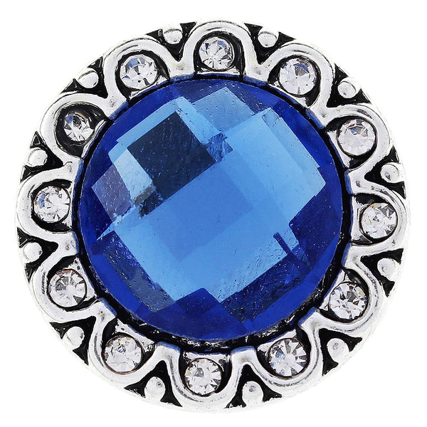 20mm Blue Big Glass Crystal Sandy Snap Button