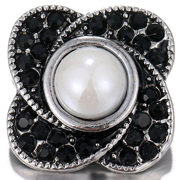 20mm Black Crystal With White Pearl Sandy Snap Button