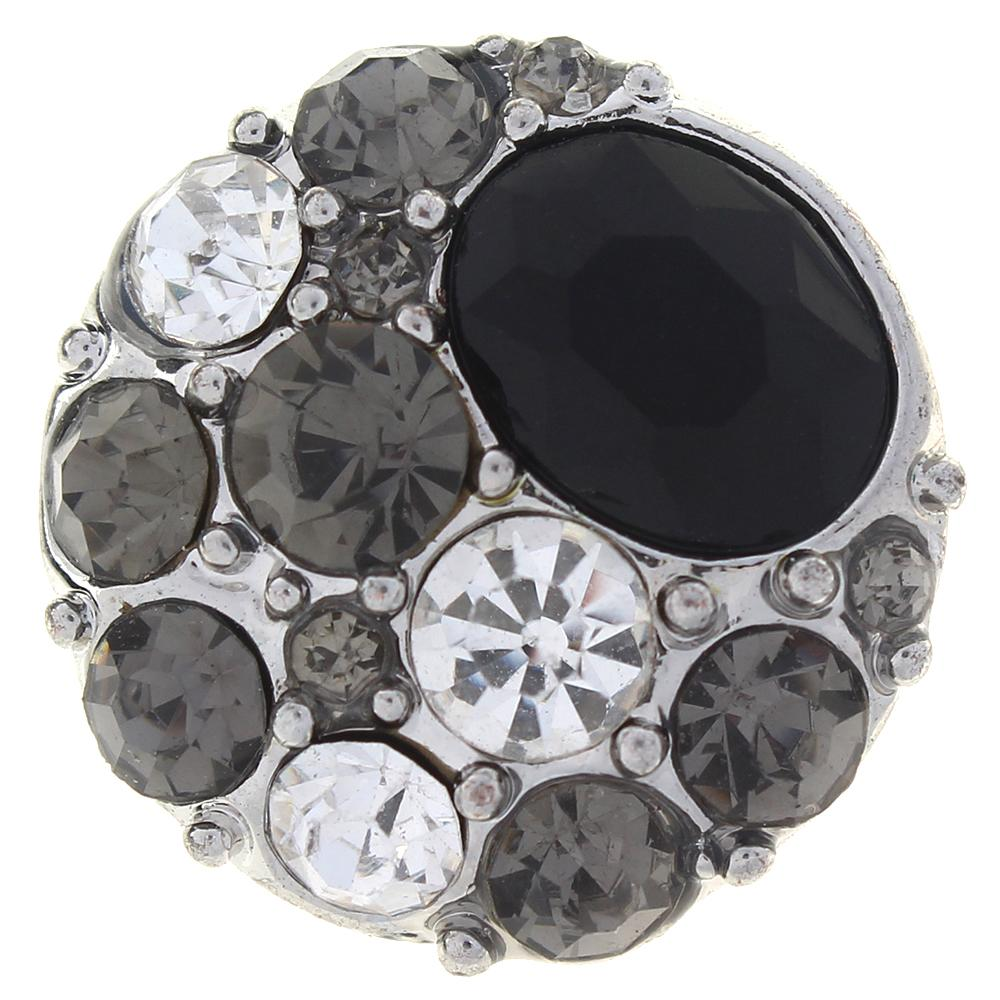 20mm Black Crystal Sandy Snap Button