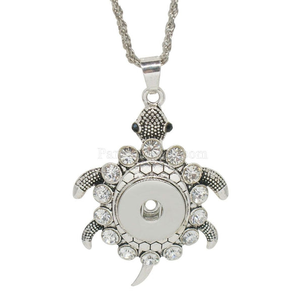Turtle Love With Just A Little Bling Sandy Snap Necklace