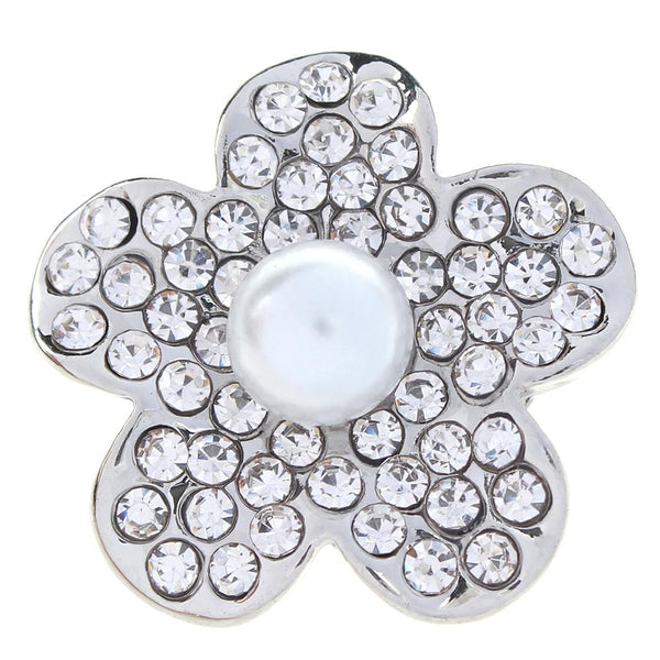 20mm White Pearl Flower And Crystal Sandy Snap Button