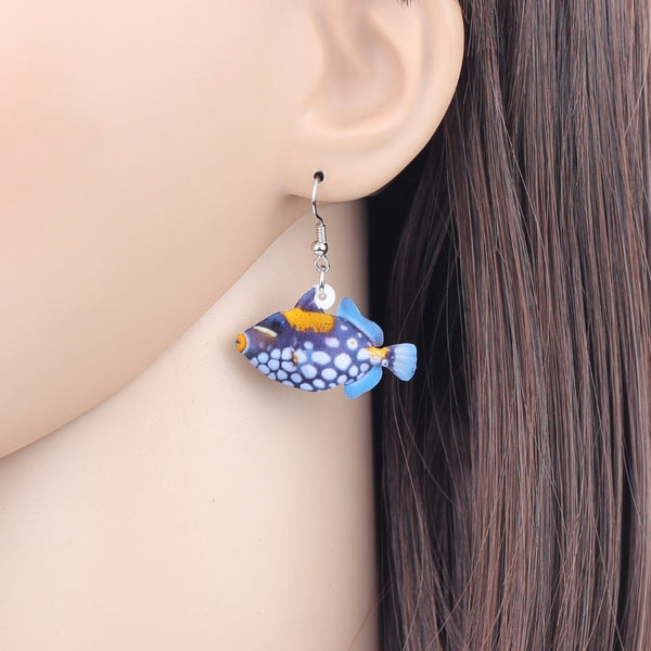 Acrylic Bigspotted Triggerfish Earrings