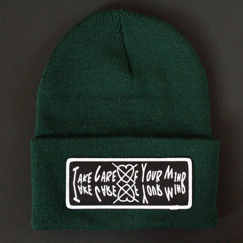 TakeCareOfYourMind Beanie (Forest green)
