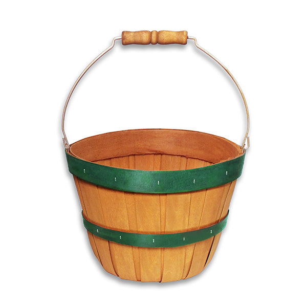 Small Green Banded Basket