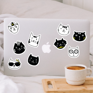 Black and White Cat Sticker Pack
