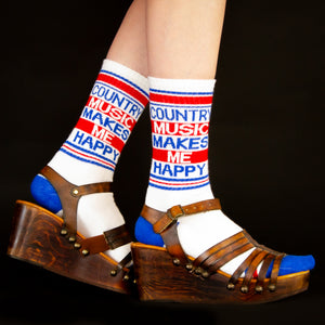 Country Music Makes Me Happy Ribbed Gym Socks by Gumball Poodle