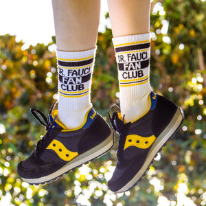 Dr. Fauci Fan Club Ribbed Gym Socks by Gumball Poodle