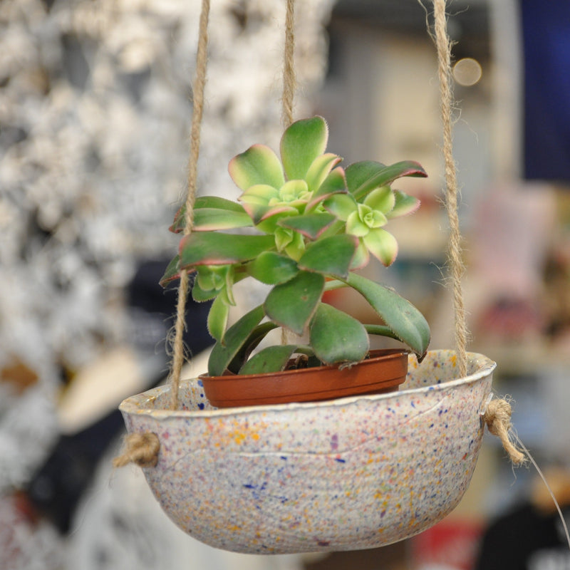 Speckled Ceramic Succulent Hanging Planter Made in USA