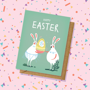Rabbits Pastel Green Easter Card