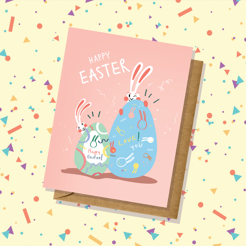 Two Bunnies Pastel Easter Card