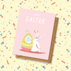 Bunny and Egg Pink Easter Card