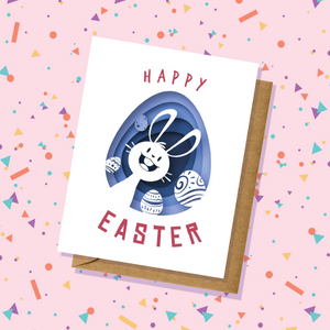 Blue Bunny and Eggs Easter Card