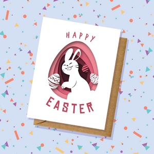 Bunny and Eggs Easter Card