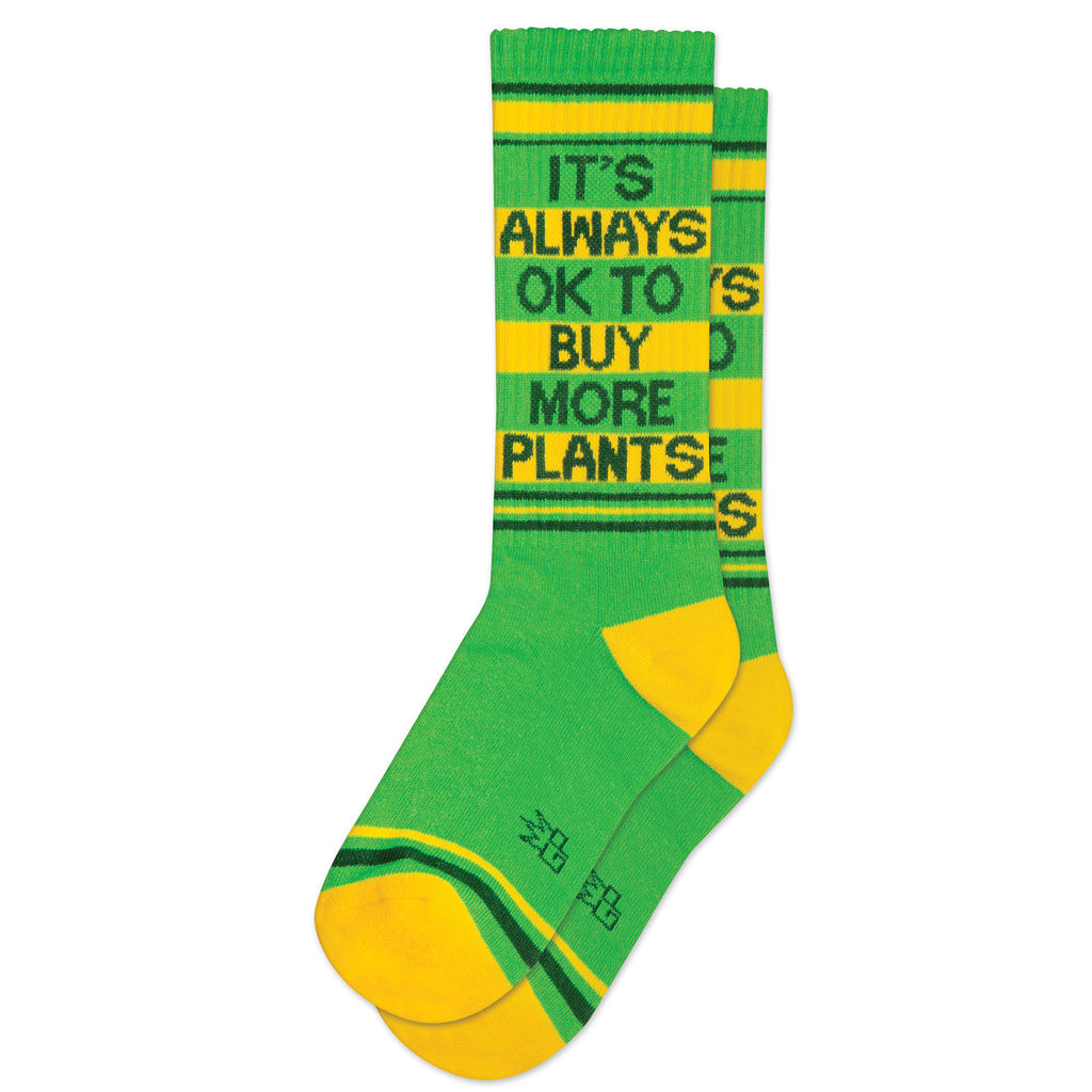 It's Always OK to Buy More Plants Ribbed Gym Socks by Gumball Poodle