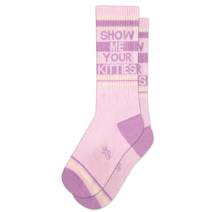 Show Me Your Kitties Ribbed Gym Socks by Gumball Poodle
