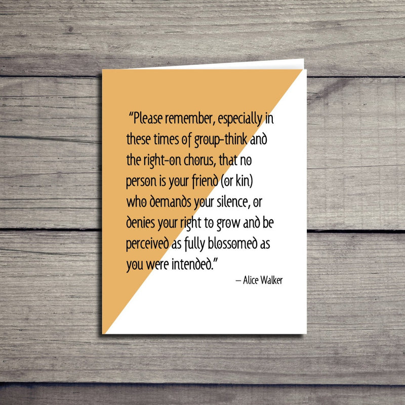 Alice Walker Inspirational Equality Quote Card