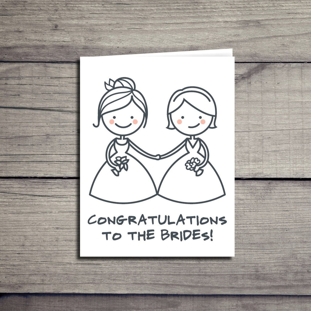 """Congratulations Brides"" Lesbian Wedding Card"