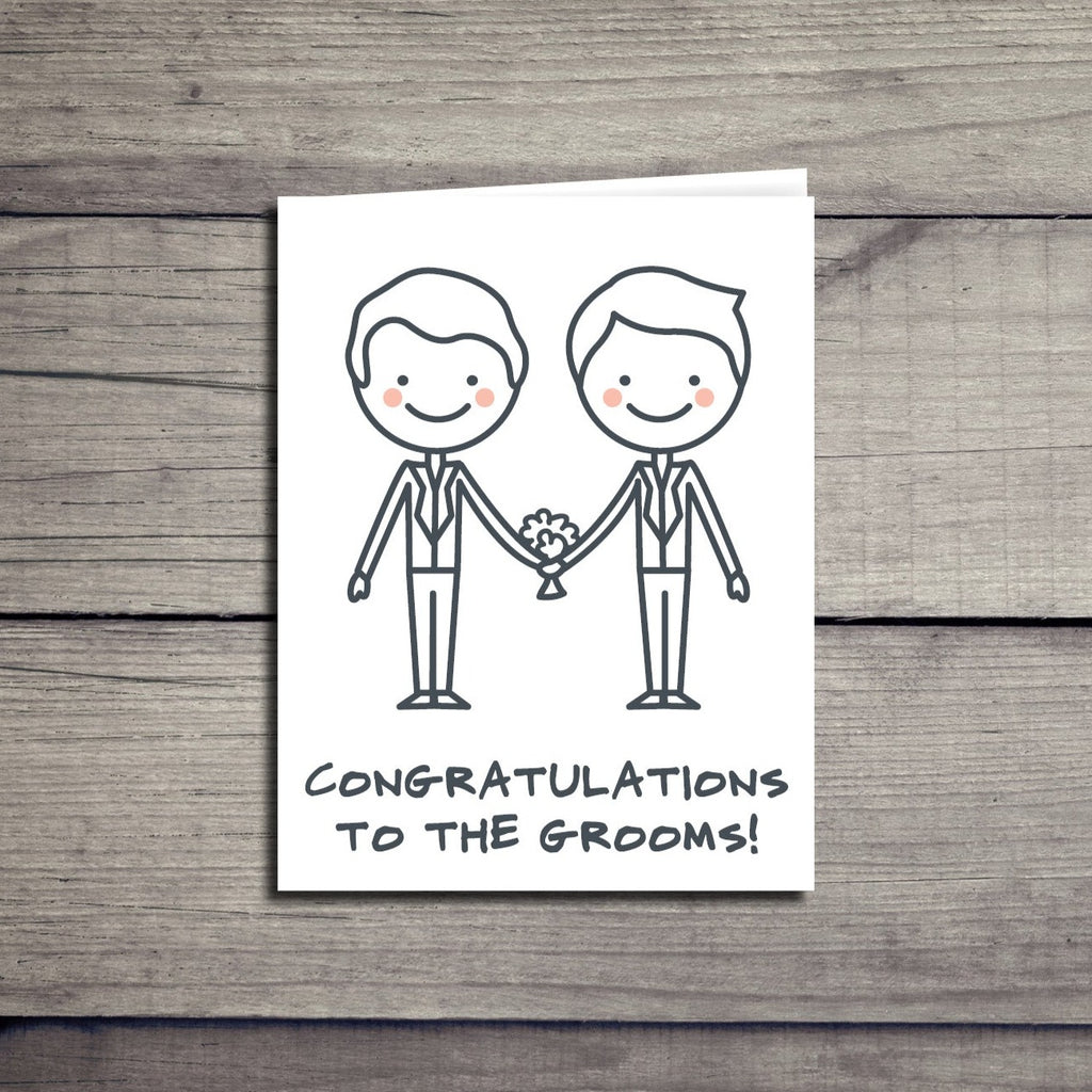 """Congratulations to the Grooms"" Gay Wedding Card"
