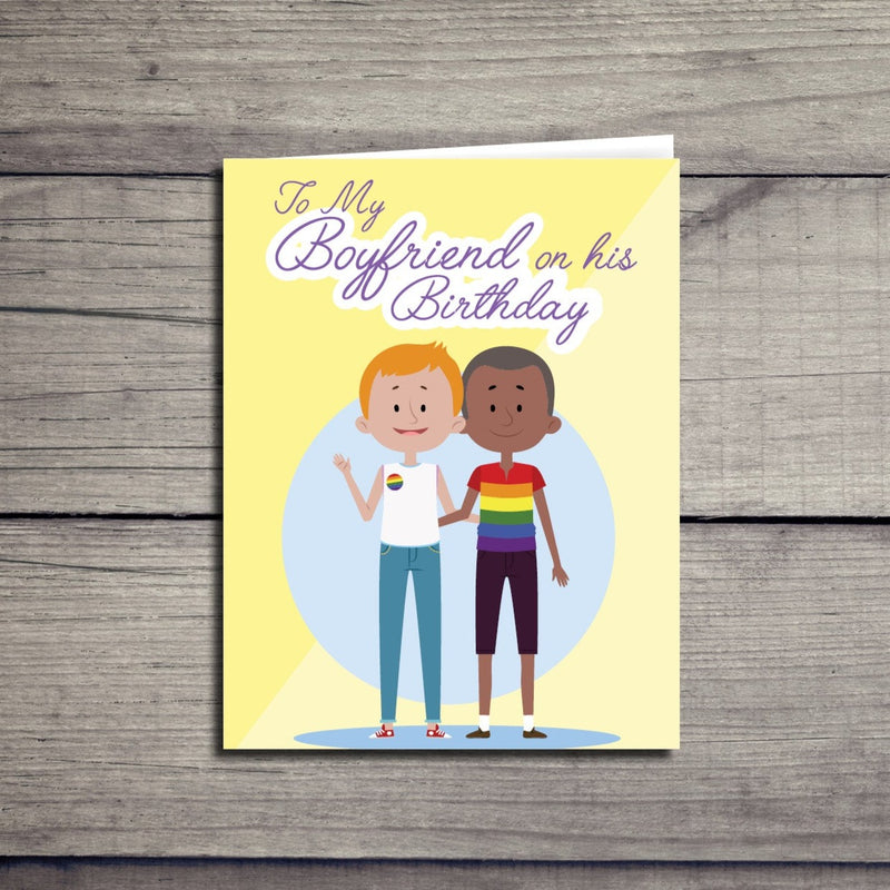 Happy Birthday Boyfriend Pride Card