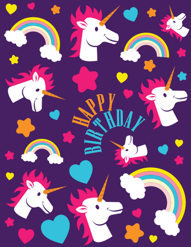 Unicorns and Rainbows Birthday Card