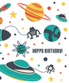 Outer Space Full Print Birthday Card