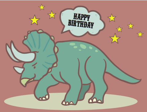 Triceratops Dinosaur Birthday Card