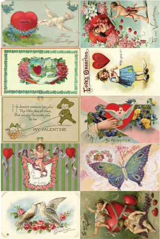 Set of 10 Vintage Valentine Postcards