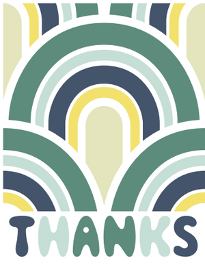 Retro Thank You Cards- 8 Card Pack