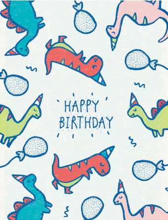 Party Hat Dinosaurs Birthday Card
