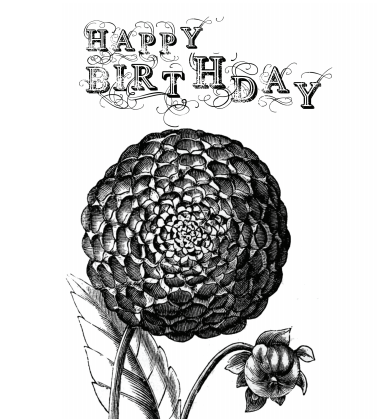 Vintage Flower Birthday Card