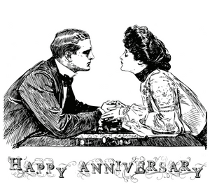 Vintage Couple Black and White Anniversary Card