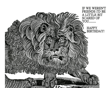 Vintage Lion Art Birthday Card