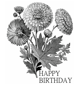 Vintage Marigold Black and White Birthday Card