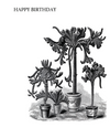 Vintage Potted Plants Birthday Card