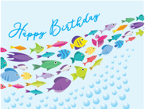 School of Fish Birthday Card