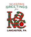 Red and Green Plaid Lancaster Pennsylvania Christmas Card