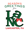 Green Lancaster Pennsylvania Christmas Card With Bow