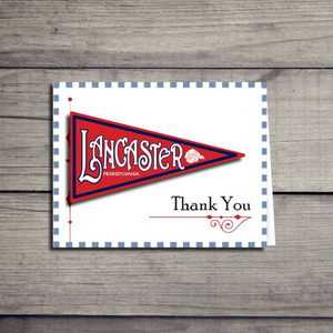 Lancaster Pennsylvania Pennant Sticker Thank you Card