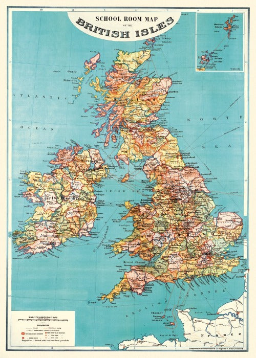 British Isles Map Poster Wrap