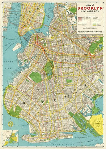 Brooklyn Map Flat Wrap