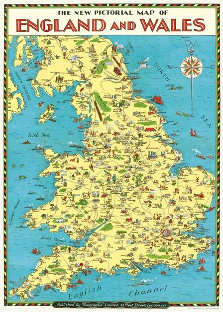England and Wales Map Flat Wrap