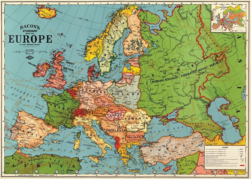 Europe Map Poster Wrap