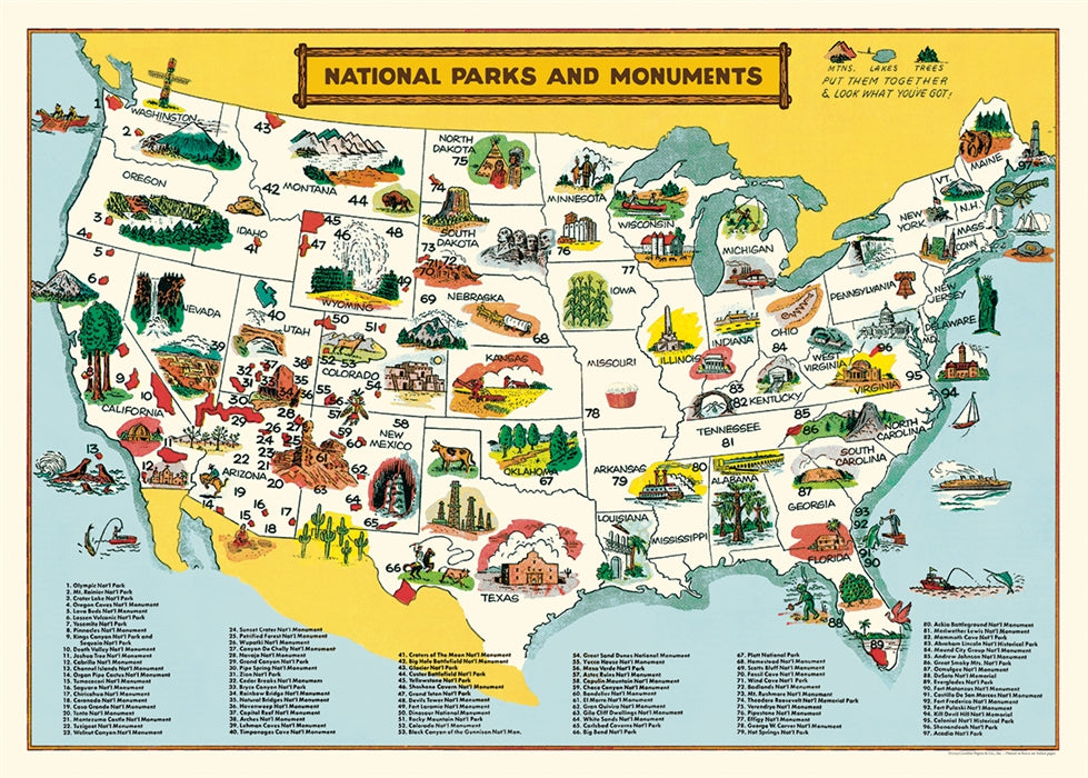 Map of U.S. National Parks Poster Wrap