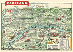Portland, Oregon Map Poster Wrap