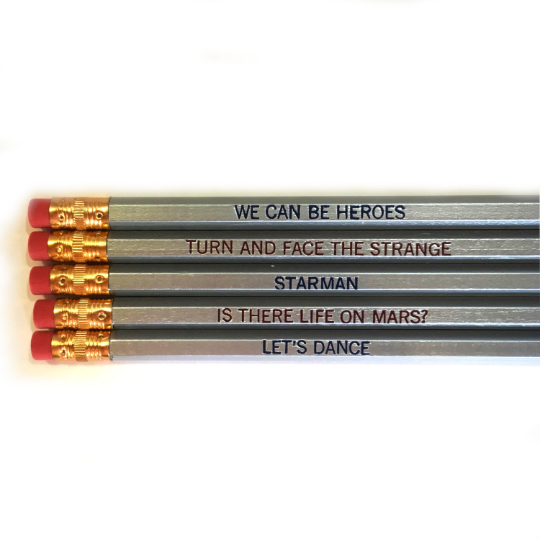 David Bowie Pencils ~ Set of 5