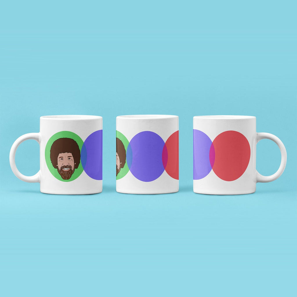 Bob Ross Mug || Illustration || The Joy Of Painting || PBS || Childhood || Happy || Education || Art || Coffee || Gifts For Artists