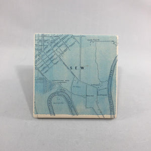 Lancaster City Map Coasters ~ Set of  4